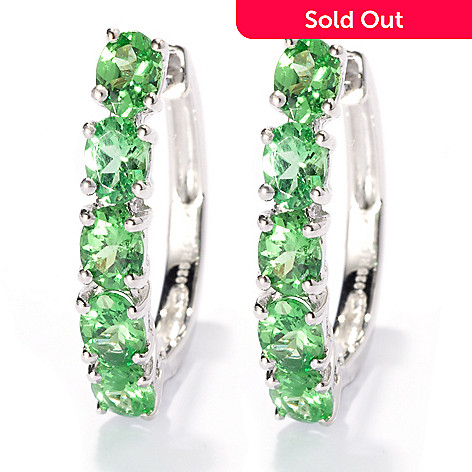 132-675 - NYC II™ 1.60ctw Oval Tsavorite Five-Stone Hoop Earrings