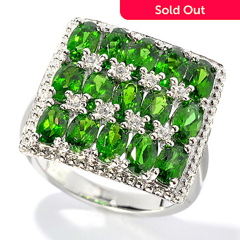 132-676 - NYC II™ 3.80ctw 15-Stone Chrome Diopside & White Zircon Square Ring