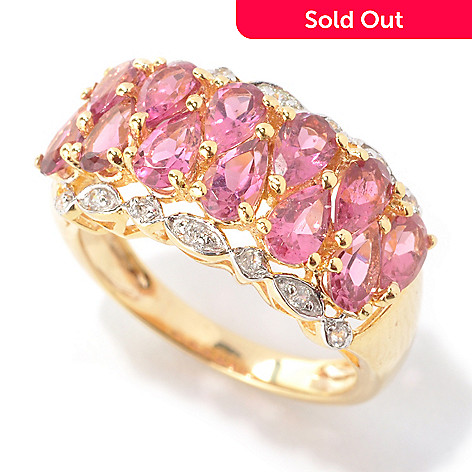 132-677 - NYC II™ 2.23ctw Pear Shaped Pink Tourmaline & White Zircon Band Ring