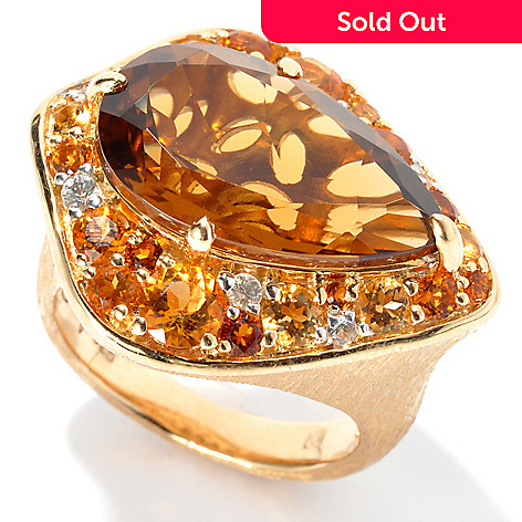 132-681 - Michelle Albala 7.89ctw Pear Shaped Honey Citrine & Multi Gem Ring