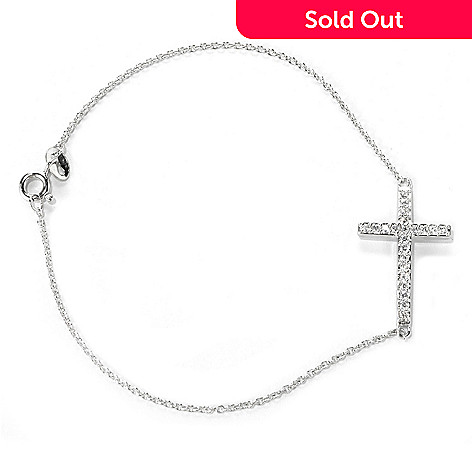 132-691 - Brilliante® Platinum Embraced™ Simulated Diamond Cable Link Symbol Bracelet