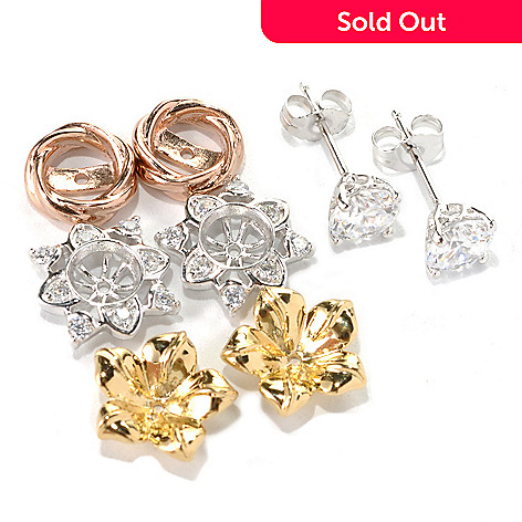 132-693 - Brilliante® Set of Three Simulated Diamond Interchangeable Jackets w/ Round Stud Earrings
