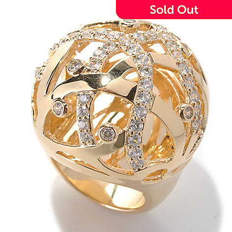132-694 - Bergio 18K Gold Embraced™ 1.66 DEW Round Simulated Diamond Large Dome Ring