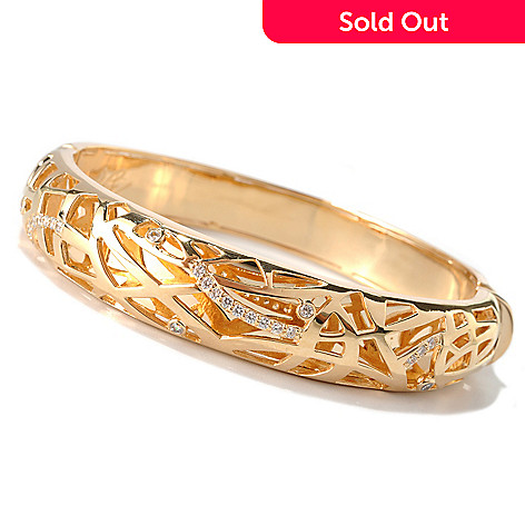 132-701 - Bergio 18K Gold Embraced™ Brilliant Cut Simulated Diamond Bangle Bracelet