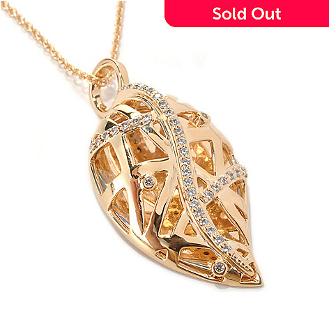 132-704 - Bergio Safari Collection Gold Embraced™ Simulated Diamond Leaf Pendant