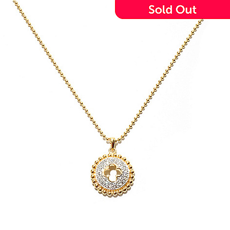 132-713 - Brilliante® 18'' Round Pave Set Simulated Diamond Textured Symbol Disk Necklace