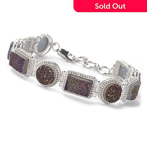 132-719 - Gem Insider™ Sterling Silver 7.5'' Rectangular & Round Drusy Link Bracelet
