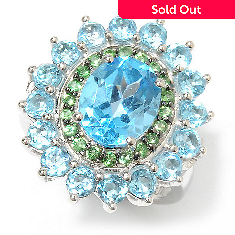 132-721 - Gem Insider Sterling Silver 5.04ctw Blue Topaz Duo & Tsavorite Double Halo Ring