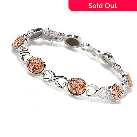 132-723 - Gem Insider™ Sterling Silver 7.5'' Drusy ''X & O'' Link Bracelet