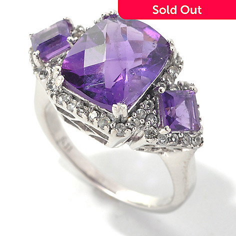 132-731 - Gem Insider™ Sterling Silver 4.48ctw African Amethyst & White Topaz Three-Stone Ring