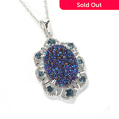 132-732 - Gem Insider Sterling Silver 16 x 12mm Blue Drusy & Blue Topaz Pendant w/ Chain