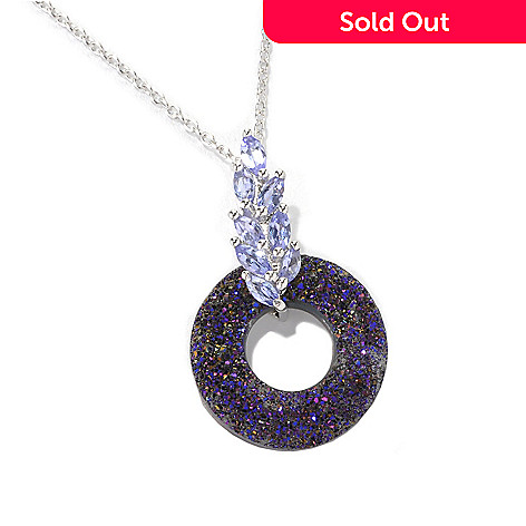 132-736 - Gem Insider™ Sterling Silver 18mm Purple Drusy & Tanzanite Drop Pendant w/ Chain