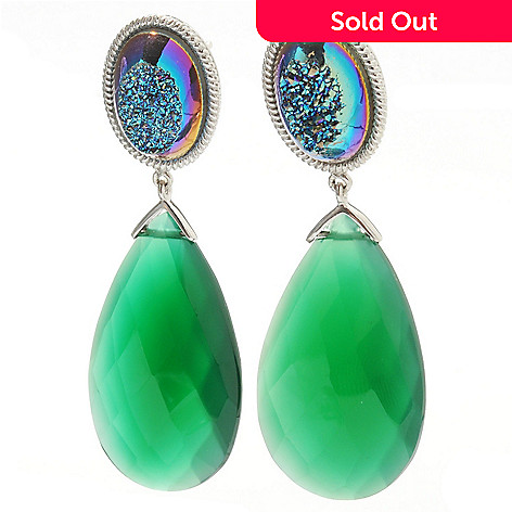 132-738 - Gem Insider® Sterling Silver 2'' 30 x 18mm Teardrop Agate & Oval Drusy Dangle Earrings