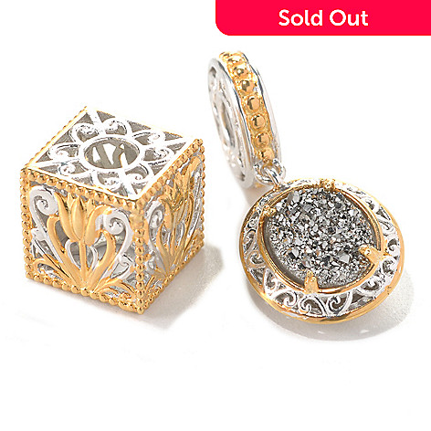 132-741 - Gems en Vogue Set of Two Silver Drusy Drop & Two-tone Cube Charms