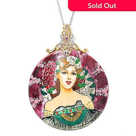 132-746 - Gems en Vogue 60mm Hand-Painted Mother-of-Pearl Maiden Dreamer Pendant w/ Chain