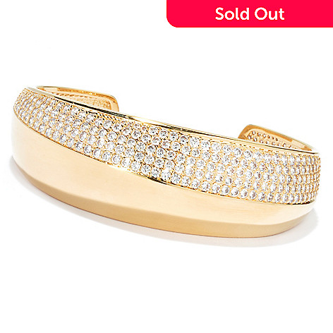 132-751 - Brilliante® Gold Embraced™ Simulated Diamond Diagonal Pattern Cuff Bracelet