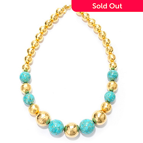 132-757 - Toscana Italiana Gold Embraced™ 18.25'' Turquoise & Hammered Bead Necklace