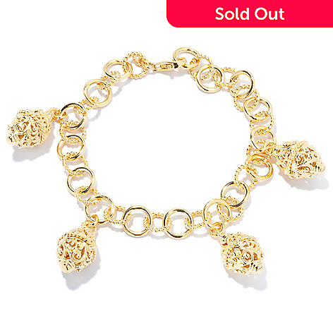 132-781 - Jaipur Bazaar Gold Embraced™ 8'' High Polished & Textured Link Bead Charm Bracelet