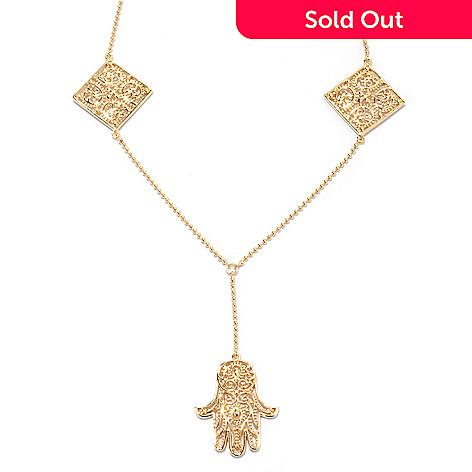 132-783 - Jaipur Bazaar Gold Embraced™ 17'' Y-Drop Hamsa Necklace w/ 2'' Extender