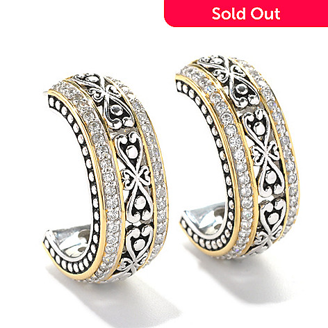 132-788 - Serafina™ Two-tone 1.74 DEW Simulated Diamond Heart Filigree C-Hoop Earrings