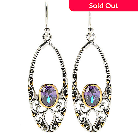 132-789 - Serafina™ 2'' Two-tone 2.42 DEW Simulated Amethyst Textured Oval Drop Earrings
