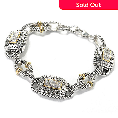 132-792 - Serafina™ Two-tone Round Simulated Diamond Textured Fancy Link Bracelet