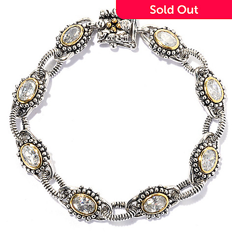 132-793 - Serafina™ Two-tone Oval Simulated Diamond Fancy Link Bracelet