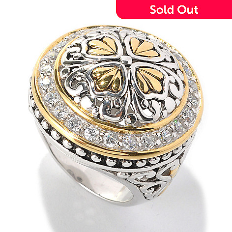 132-794 - Serafina™ Two-tone Round Simulated Diamond Filigree Detailed Dome Ring