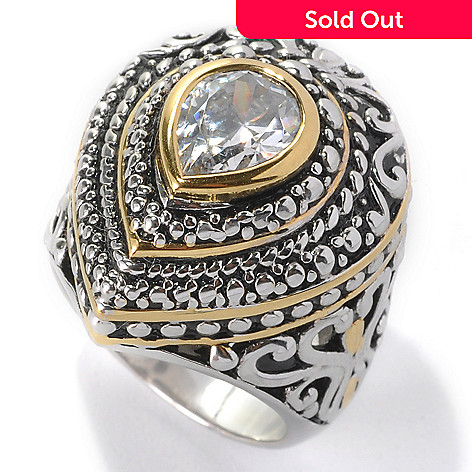 132-795 - Serafina™ Two-tone 1.75 DEW Bezel Set Simulated Diamond Textured Halo Teardrop Ring