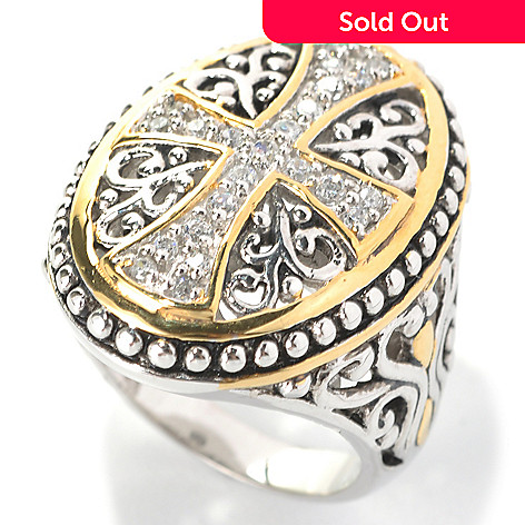 132-796 - Serafina™ Two-tone Round Simulated Diamond Oval Shaped Cross Ring
