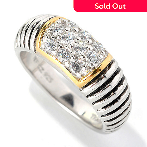 132-797 - Serafina™ Two-tone Round Simulated Diamond Textured Band Ring