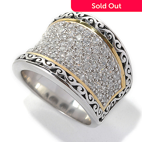 132-798 - Serafina™ Two-tone 1.28 DEW Round Simulated Diamond Filigree Concave Band Ring