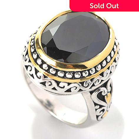 132-799 - Serafina™ Two-tone 9.32 DEW Oval Simulated Black Onyx Filigree Ring