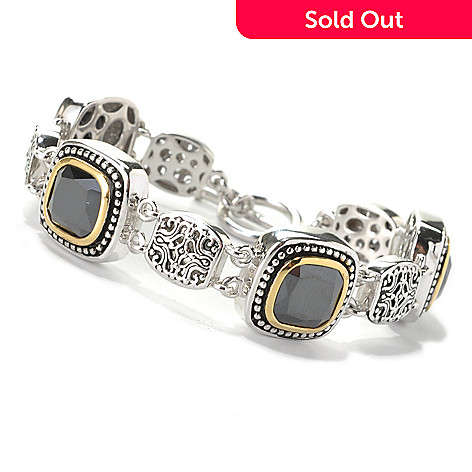 132-800 - Serafina™ Two-tone Cushion Cut Simulated Black Onyx Line Bracelet w/ Toggle Clasp