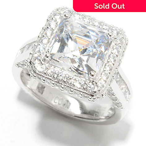 132-807 - TYCOON 5.86 DEW Square & Round Cut Simulated Diamond Fancy Side Gallery Halo Ring