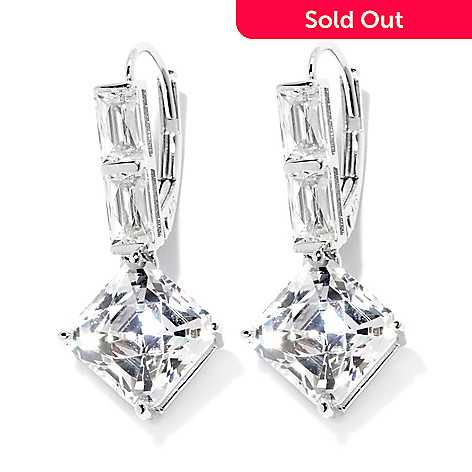 132-814 - TYCOON 1'' Platinum Embraced™ 7.10 DEW Royal TYCOON CUT Simulated Diamond Drop Earrings