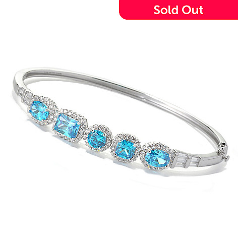 132-817 - Brilliante® Platinum Embraced™ 7.94 DEW Simulated Blue Apatite Halo Bangle Bracelet