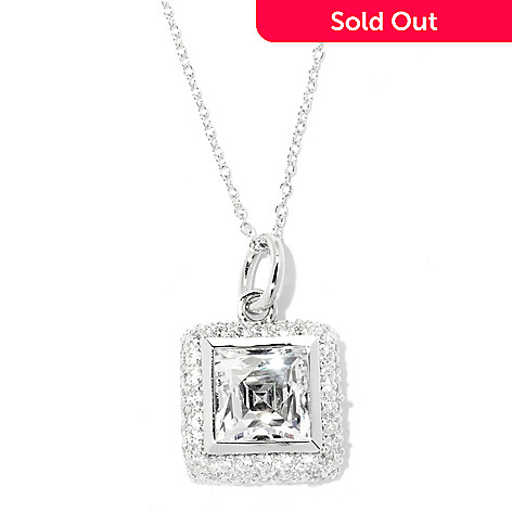 132-818 - TYCOON Platinum Embraced&trade Square Bezel & Pave Set Simulated Diamond Pendant w/ Chain