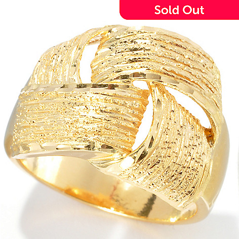 132-825 - Scintilloro™ Gold Embraced™ Diamond Cut Textured Crisscross Ring