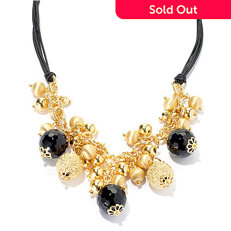 132-830 - Scintilloro™ Gold Embraced™ 18'' 16mm Black Onyx & Multi Bead Charm Cluster Necklace