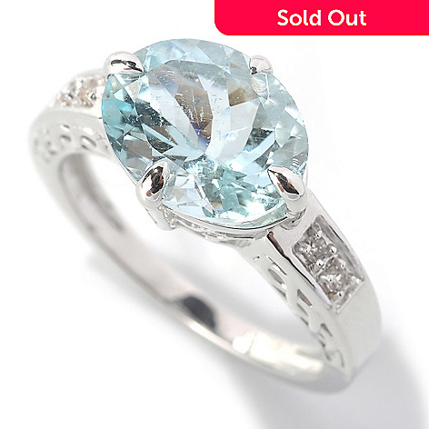 132-832 - Gem Treasures Sterling Silver 2.93ctw Aquamarine & White Zircon East-West Ring