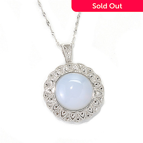 132-834 - Gem Treasures® Sterling Silver 16mm Chalcedony Flower Frame Pendant w/ Chain