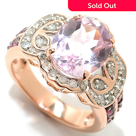 132-835 - Gem Treasures® 14K Rose Gold 3.56ctw Kunzite, Pink Tourmaline & Diamond Ring
