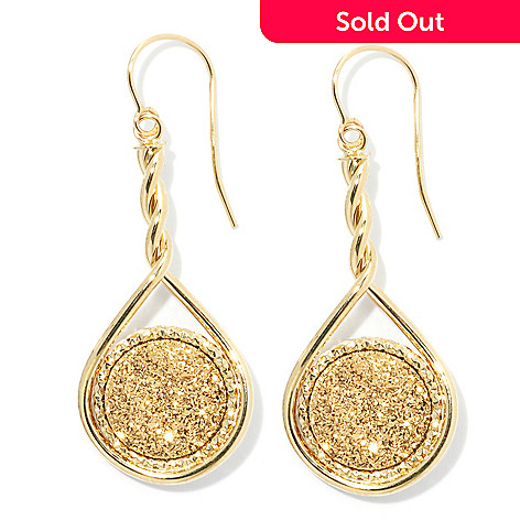 132-839 - Viale18K® Italian Gold 1.75'' 12mm Golden Drusy Twisted Circle Drop Earrings