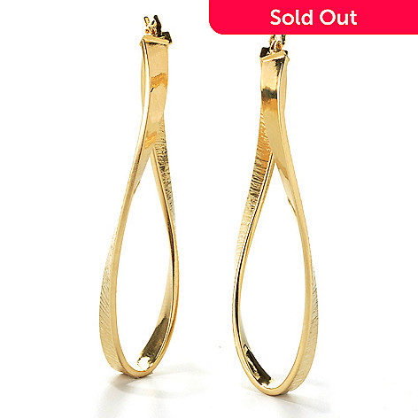 132-846 - Viale18K® Italian Gold 2'' Textured & Twist Design Oval Hoop Earrings