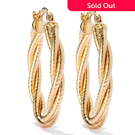 132-848 - Viale18K® Italian Gold 1'' Textured & Twist Design Oval Hoop Earrings