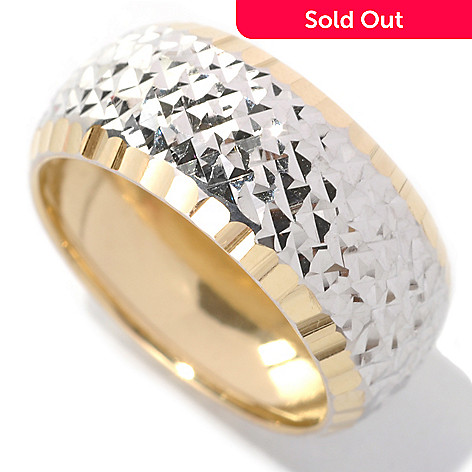 132-852 - Viale18K® Italian Gold Two-tone Diamond Cut Sparkle Ring