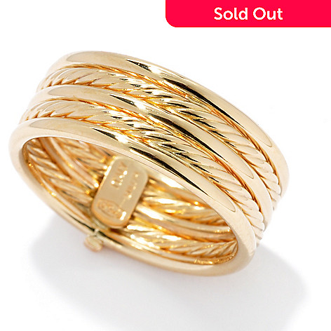 132-854 - Viale18K® Italian Gold Polished & Twisted Five-Row Band Ring