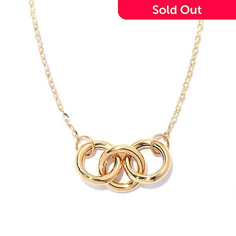 132-855 - Viale18K® Italian Gold 18'' Three-Ring Forzatina Chain Necklace. 1.9 grams