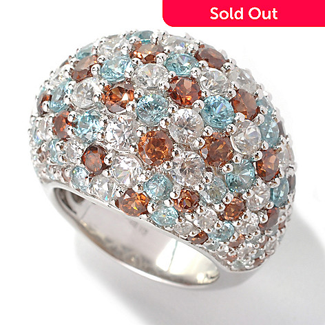 132-858 - Gem Insider™ Sterling Silver 11.30ctw Brown, Blue & White Zircon Dome Ring